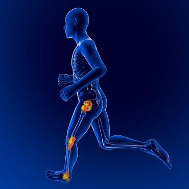 Uomo scheletro in corsa dolore infiammazione ginocchio anca